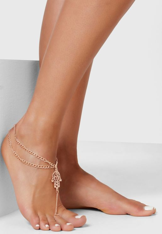 Layered Hamsa Detail Foot Chain Anklet