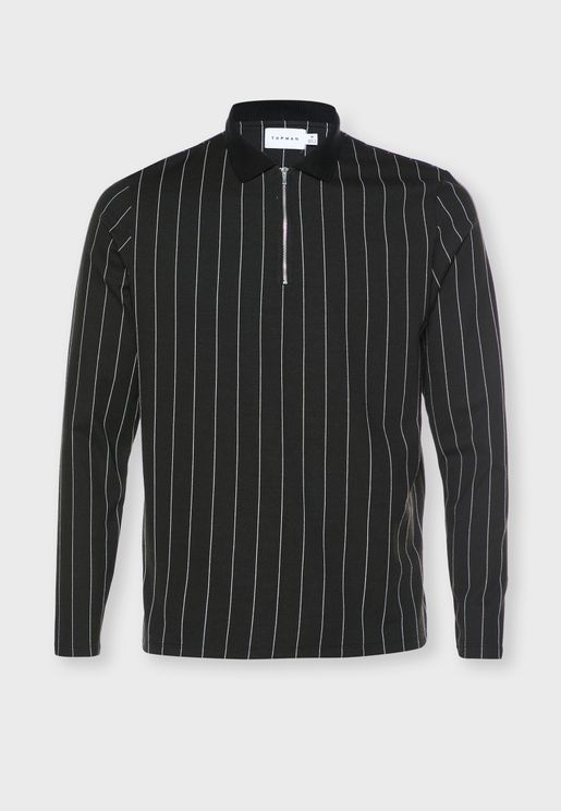 Striped Zip Detail Polo
