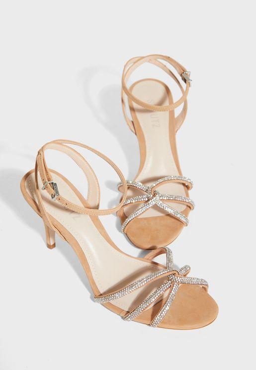 Ankle Strap Buckle Detail Sandal - Honey Beige