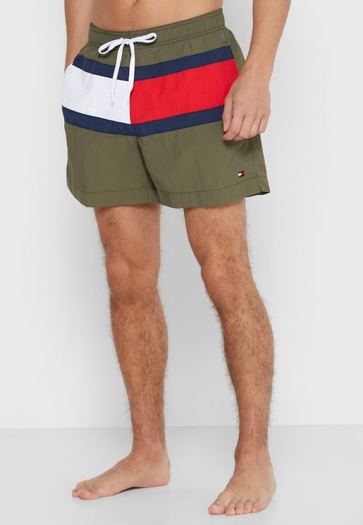 Color Block Drawstring Swim Shorts