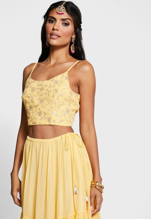 Indya X Payal Singhal Yellow Embroidered Strappy Crop Top
