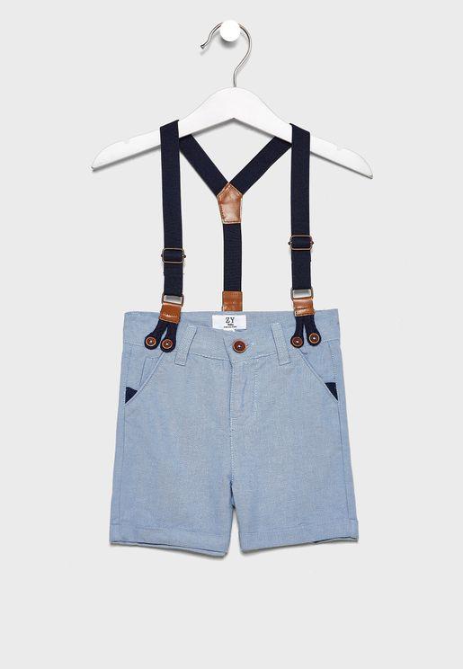 Infant Hem Folded Shorts With Suspender