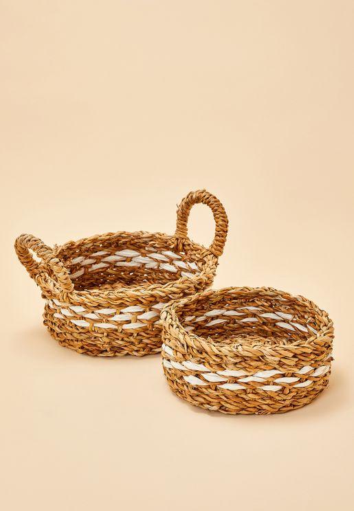 2 Set Round Seagrass Baskets