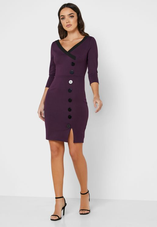 Contrast Trim Button Down Bodycon Dress