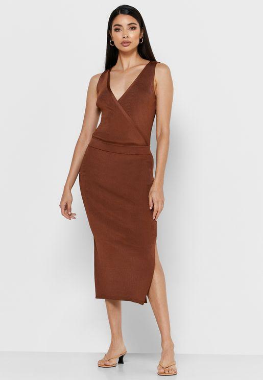 Katy Side Slit Plunge Dress