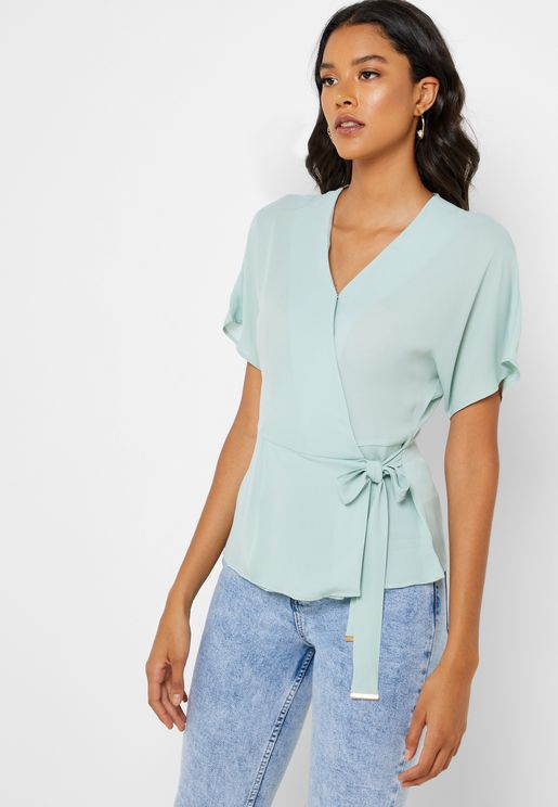 Wide Sleeve Wrap Top