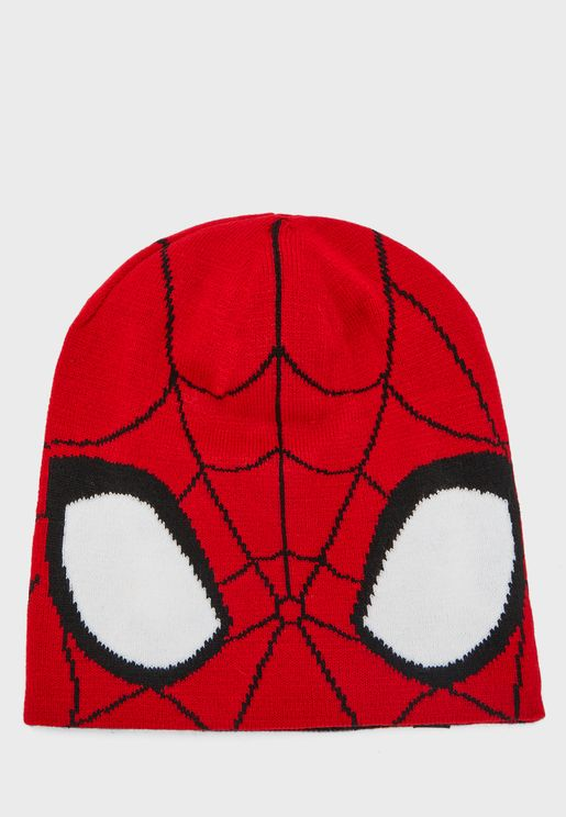 Kids spiderman reversible beanie