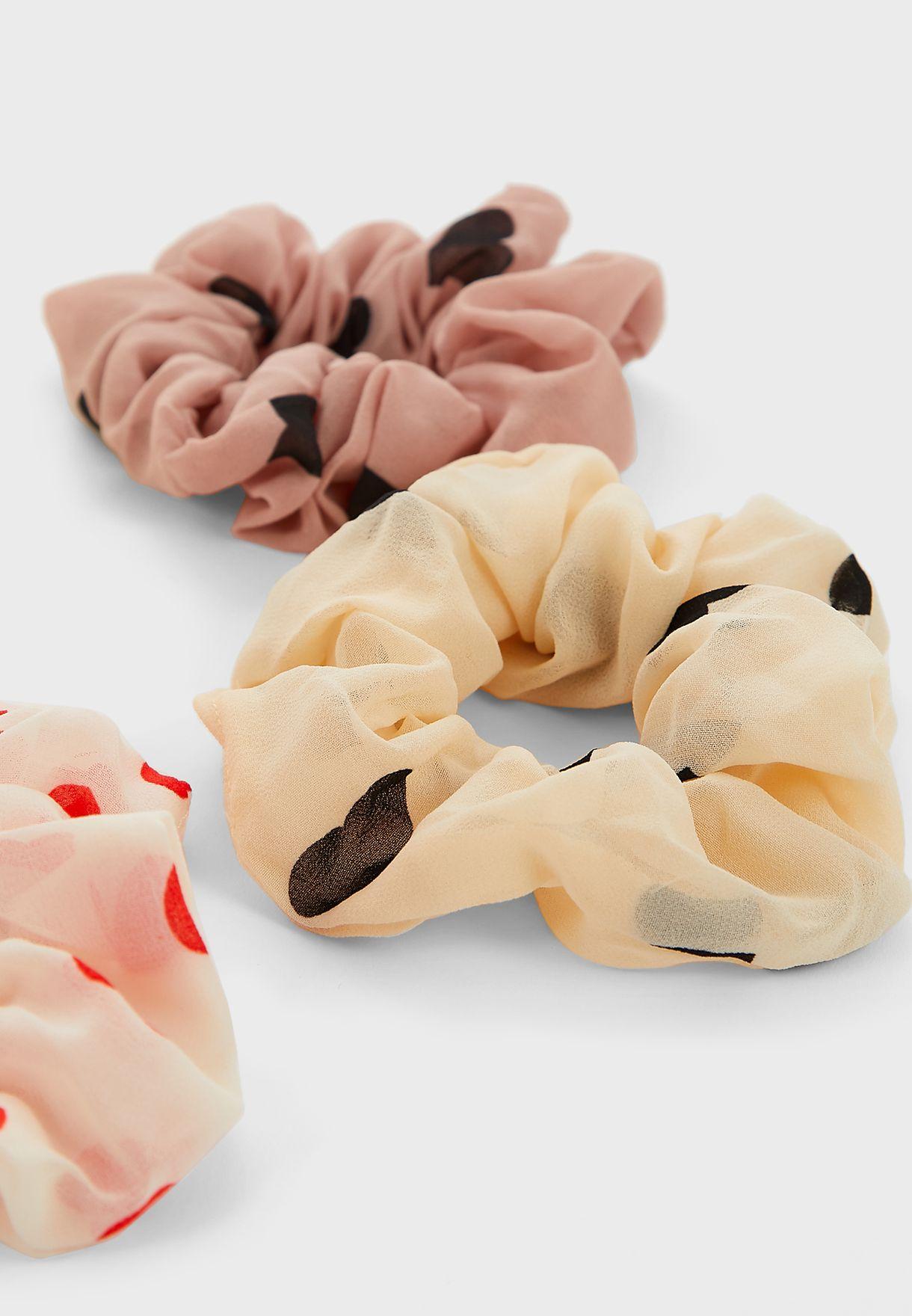 Pack Of 6 Heart Print Scrunchies