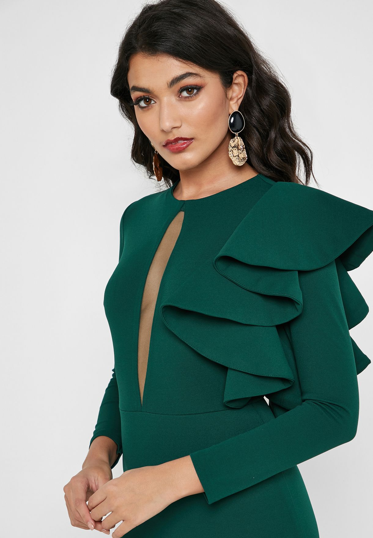 Ruffle Detail Keyhole Dress