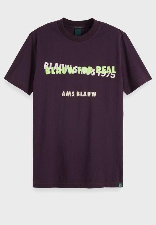 Contrast Text Print Crew Neck T-Shirt