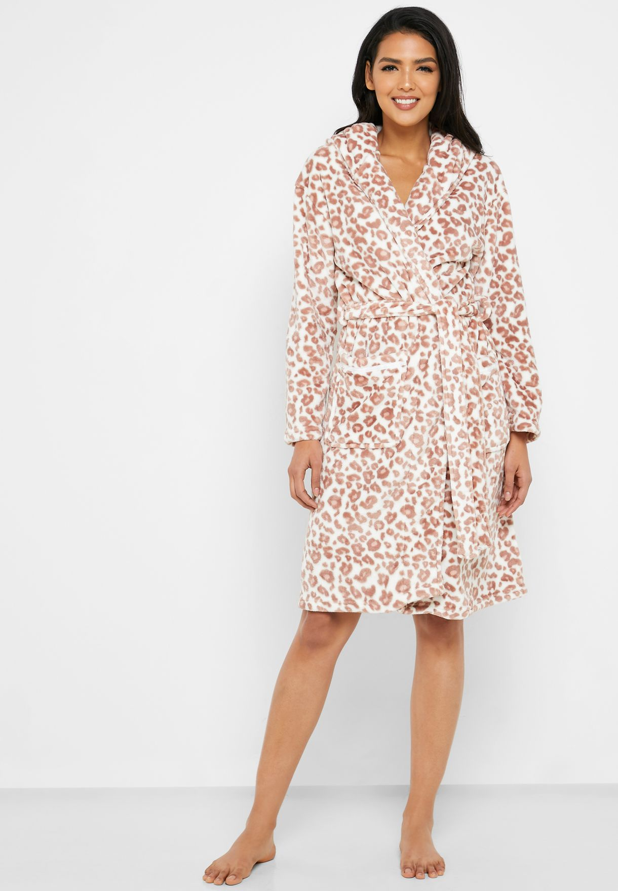 Leopard Print Belted Hooded Robe