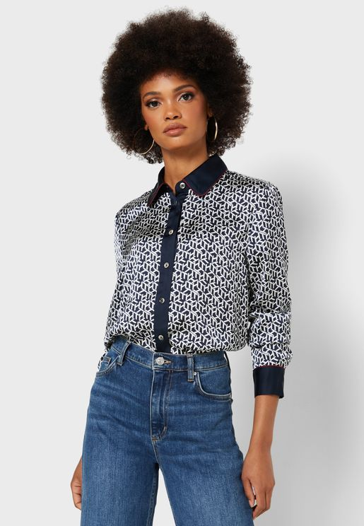 Contrast Trim Printed Shirt