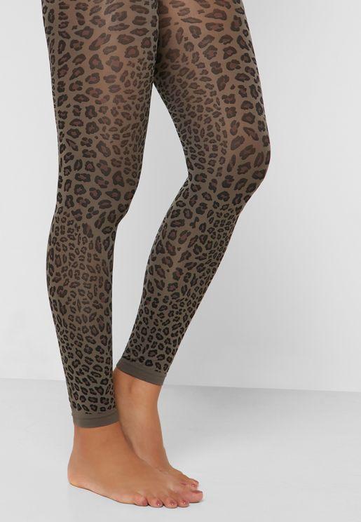 b1af67a100c Leopard Print Footless Tights