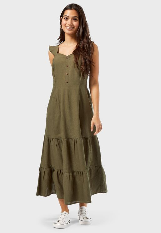 Frill Strap Midi Linen Dress