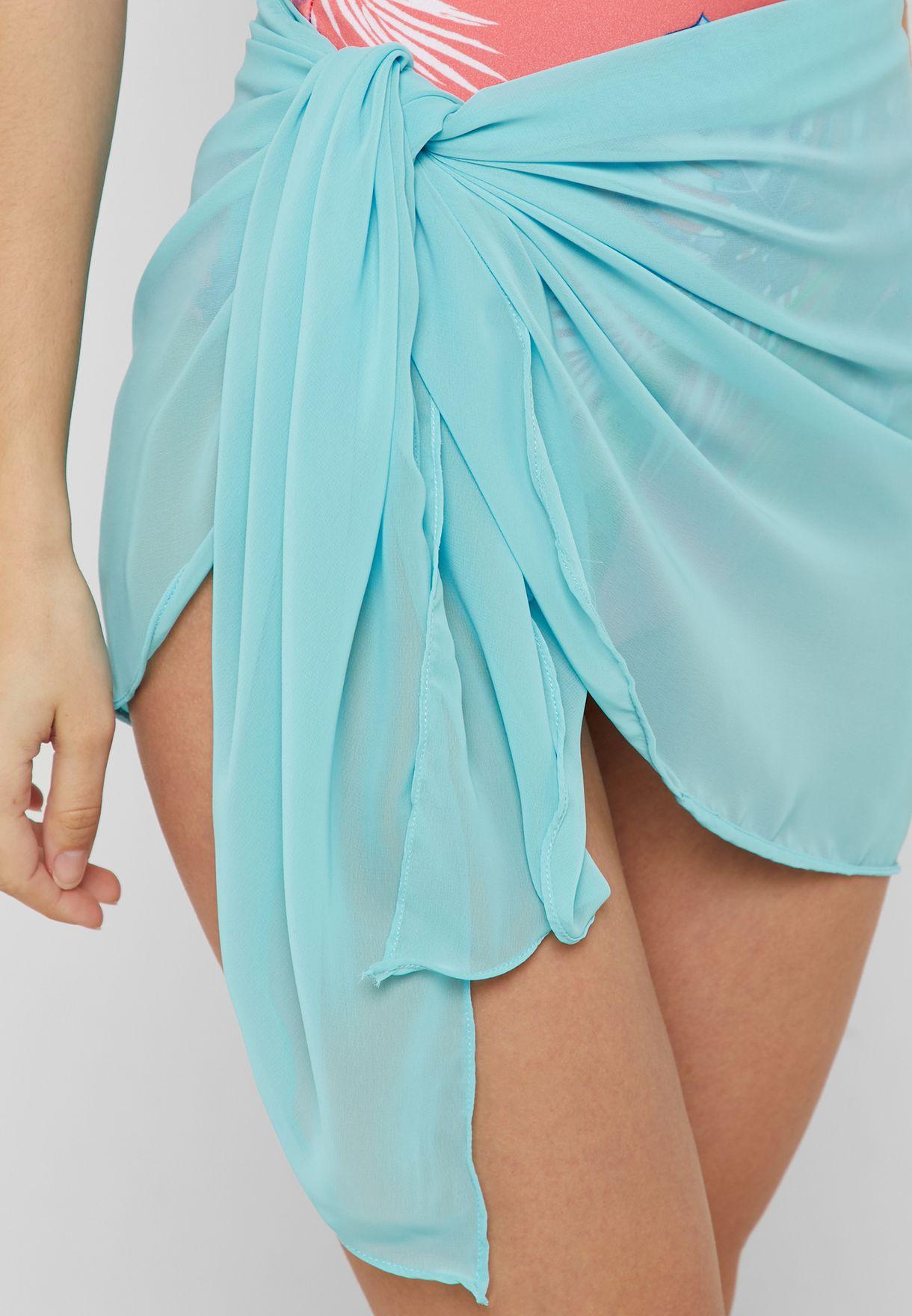 dddc18e90d Shop Coconut Cove blue Neon Short Beach Wrap Mini Beach Wrap for ...