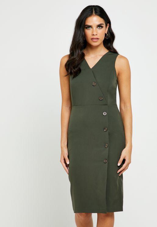 Asymmetric Buttoned Wrap Dress