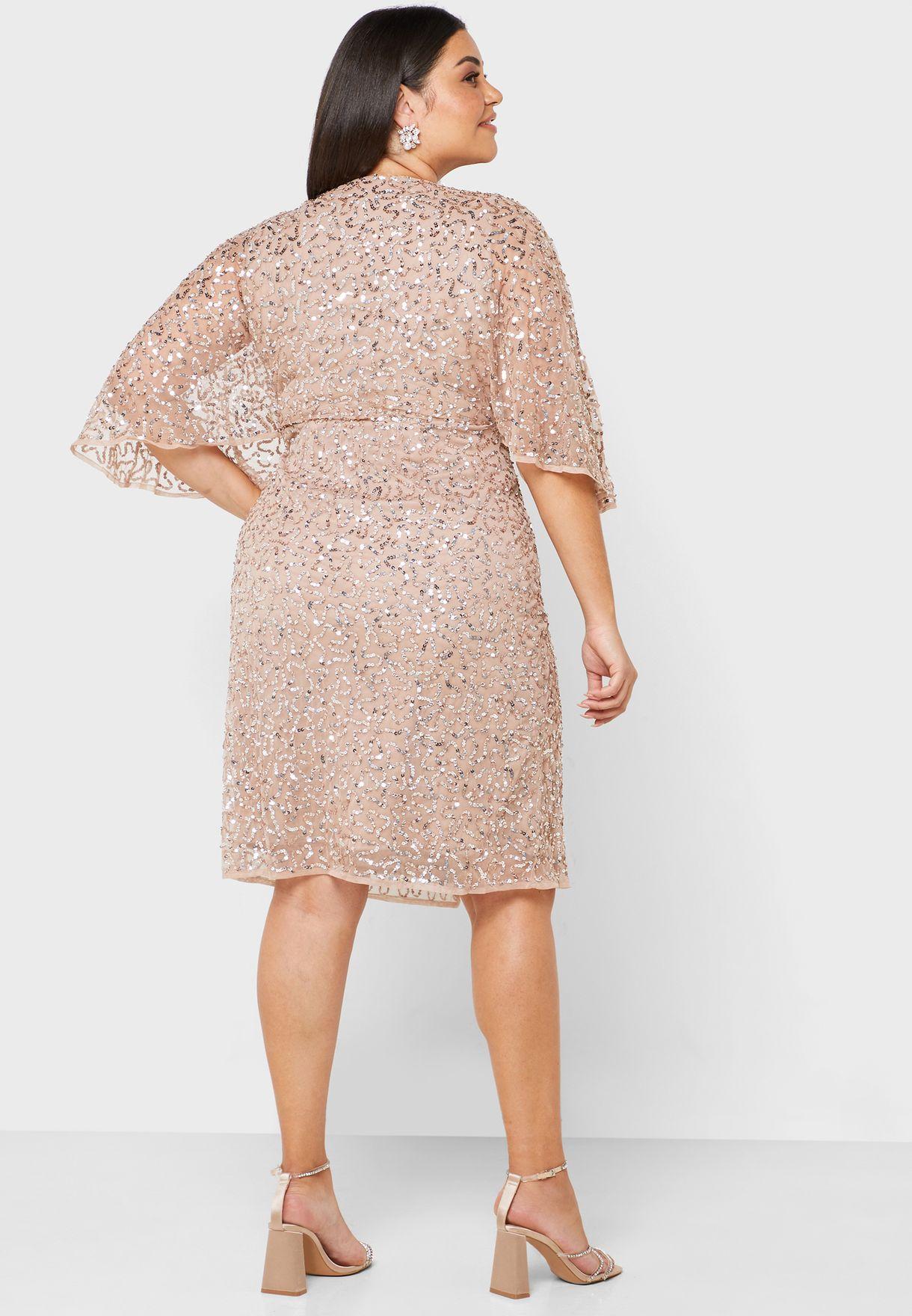 Front Split Sequin Wrap Dress