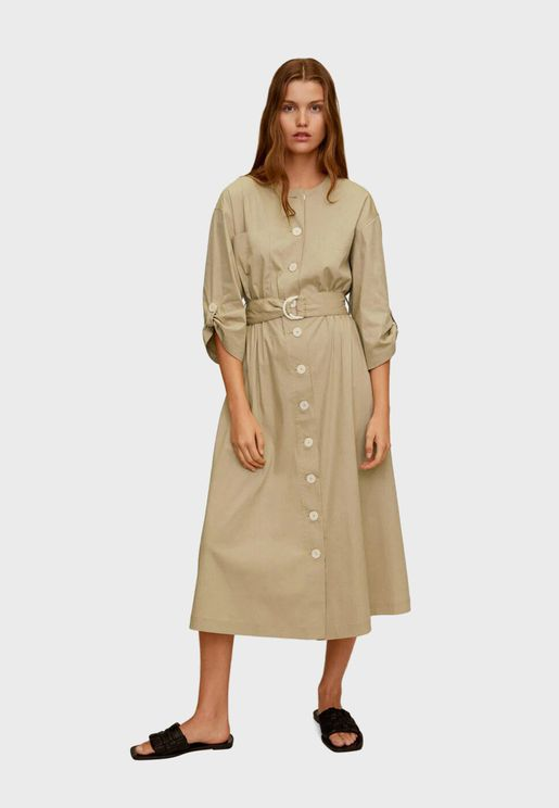Roll Sleeve Belted Button Down Dress