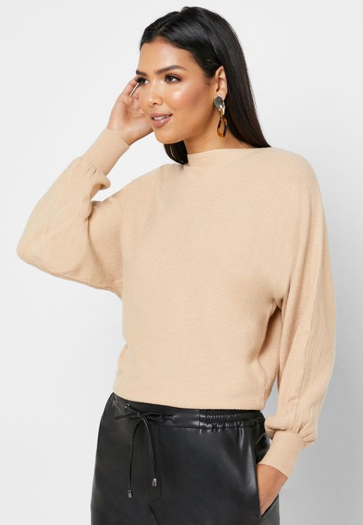 Textured Batwing Sweater