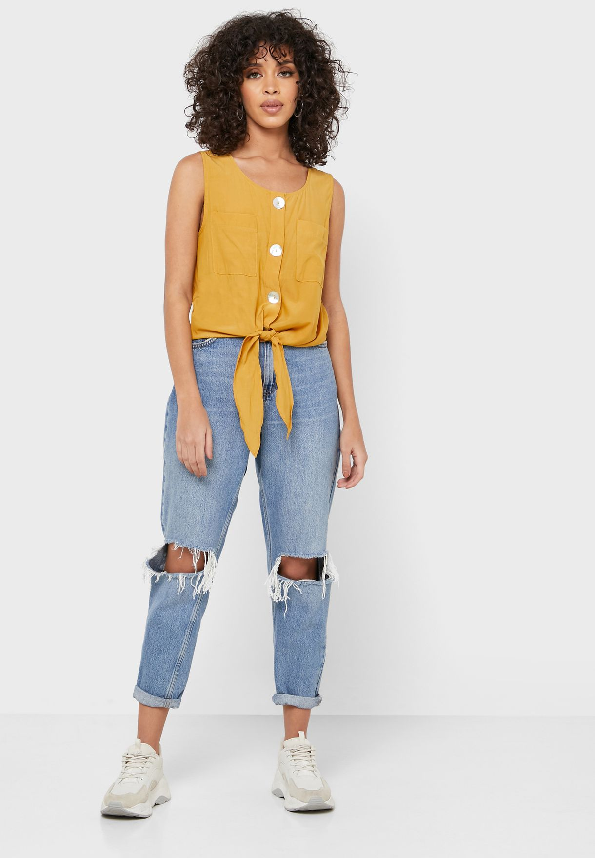 Tie Hem Pocket Front Top