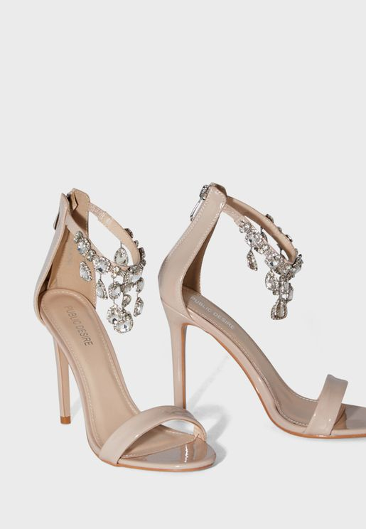 Chai Ankle Gem Detail Barely There Heel