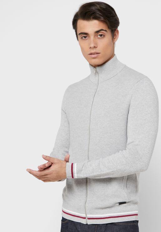 Contrast Edge Zip Detail Sweater
