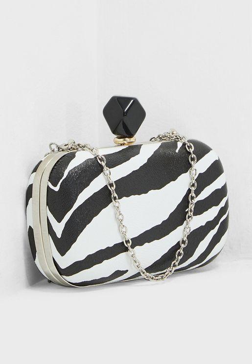 Boxy Clutch Bag In Zebra With Contrast Trim