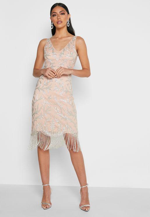 Sienna Fringe Flapper Dress