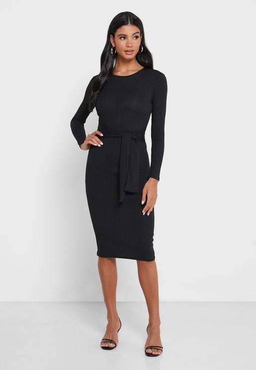 Rib Tie Front Dress