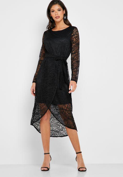 Tie Waist Lace Dress