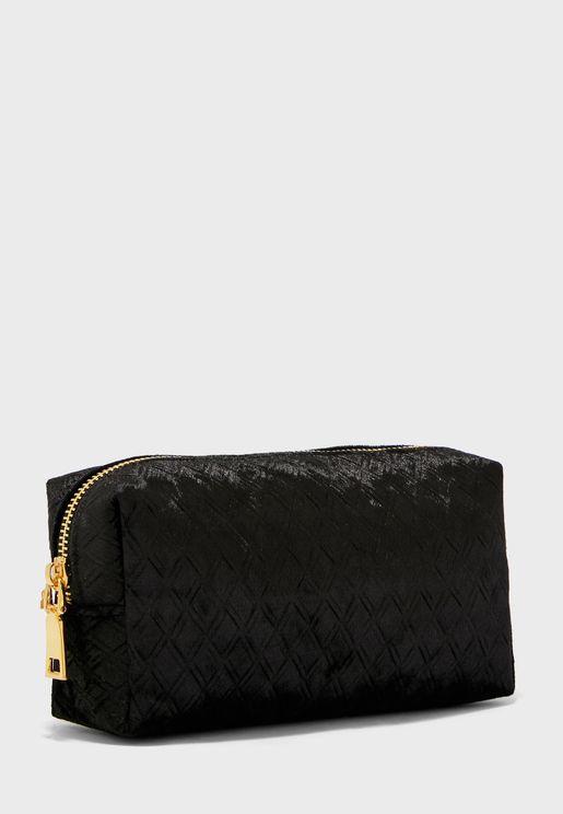 Velvet Zigzag  Cosmetic  Bag