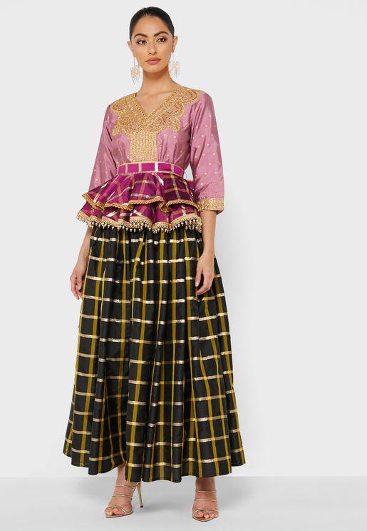 Embellished Detail Top & Skirt Set