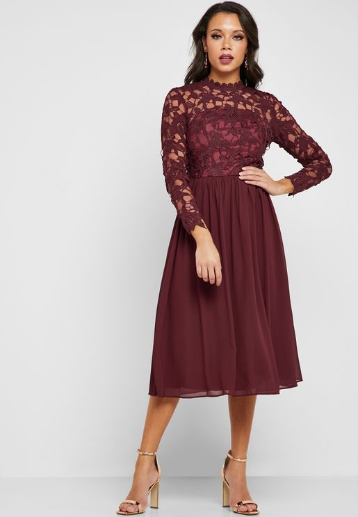 Lace Detail Pleated Dress