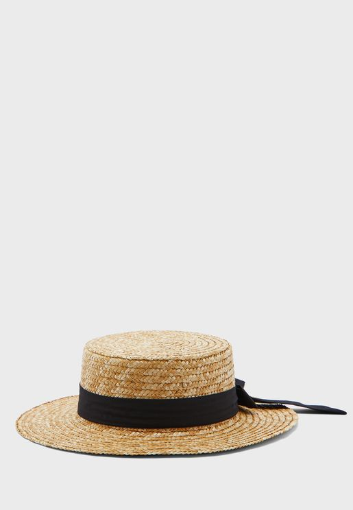 Straw Boater Hat With Bow