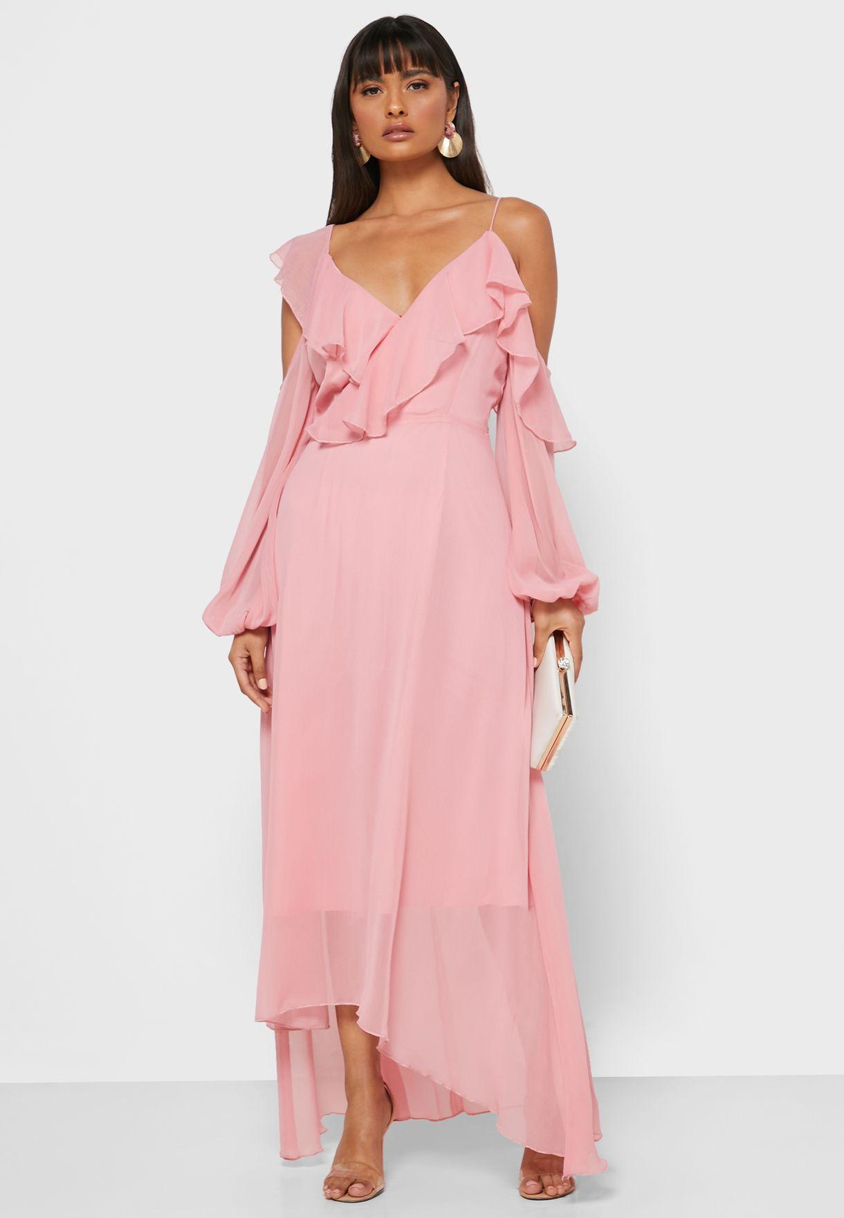 Ruffle One Cold Shoulder Midi Dress