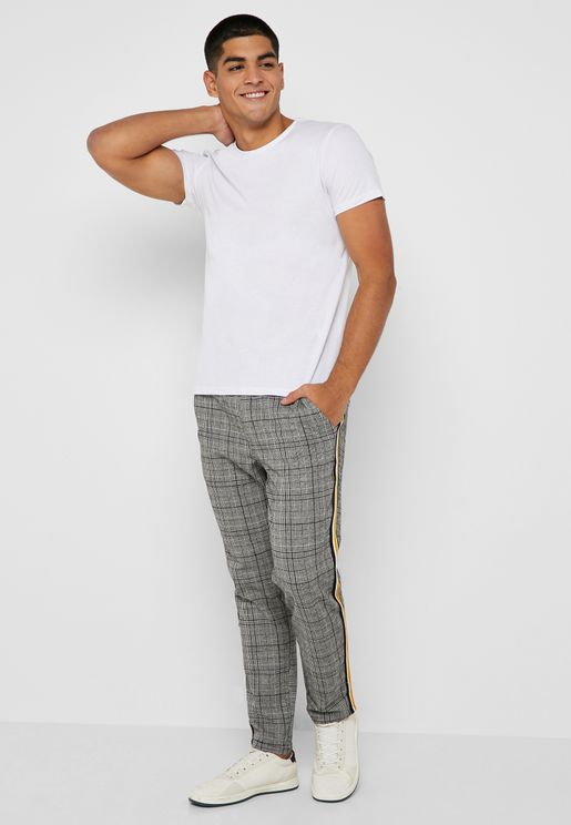 Side Stripe Checked Pants