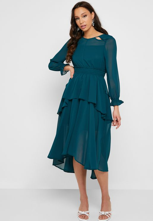 Ruffle Detail Shirred Waist Midi Dress