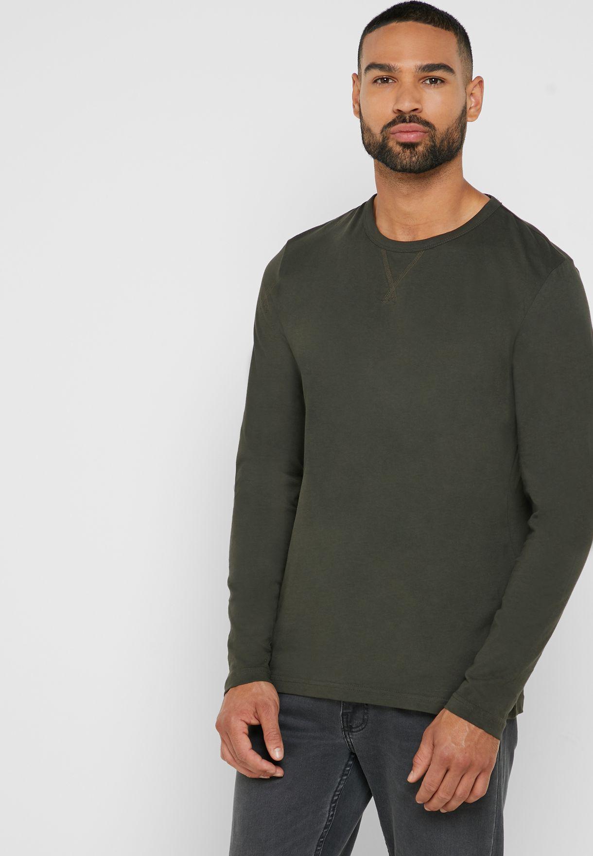 a71a2f7e46 Shop Brave Soul green Long Sleeve T Shirt MLT-69PRAGUEF for Men in ...