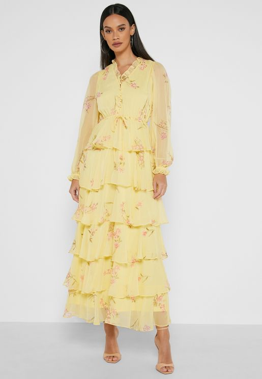 فستان طبقات بطباعة زهور