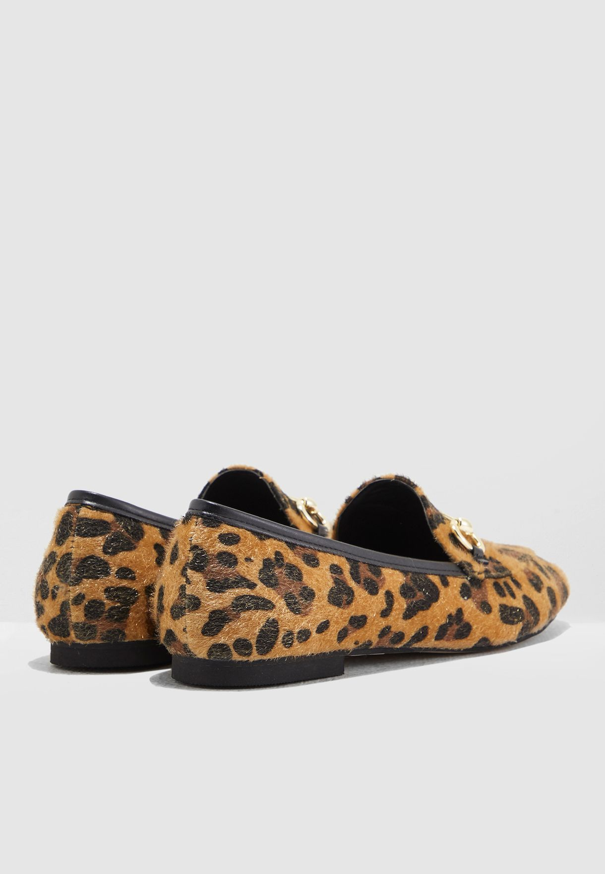 Bej Moccasin With Leopard Print