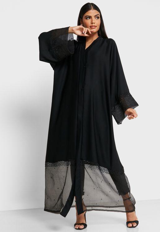 Lace Trim Abaya
