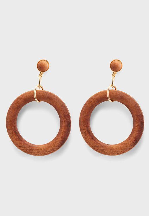 Wood Drop Hoop Earrings