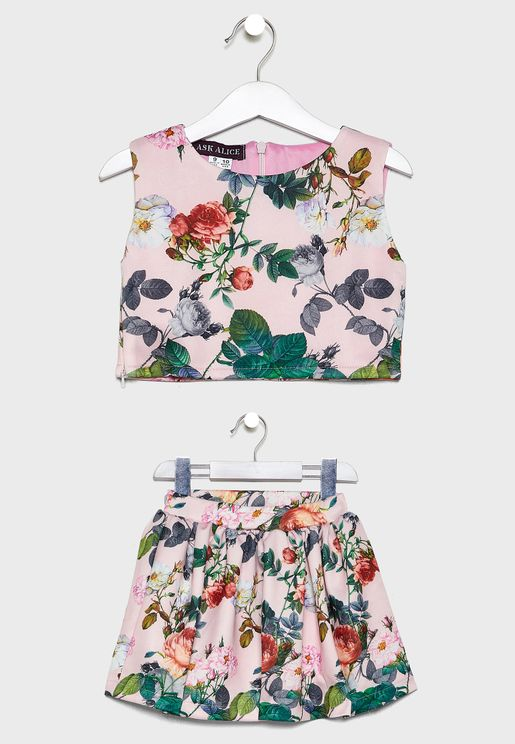 Kids Floral Skirts & Top