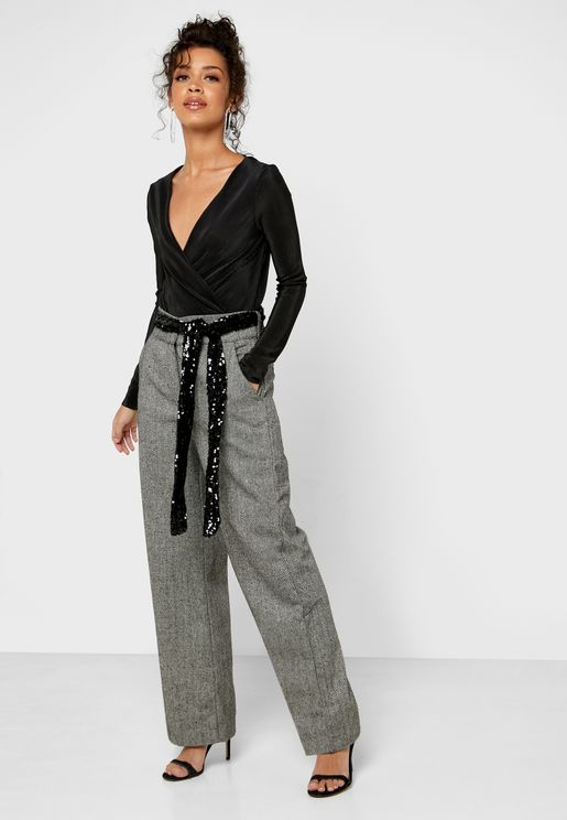 Sequin Detail Belted Wide Leg Pants