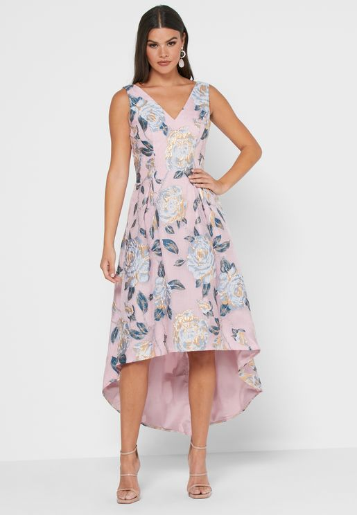 Enetta Asymmetric Printed Dress
