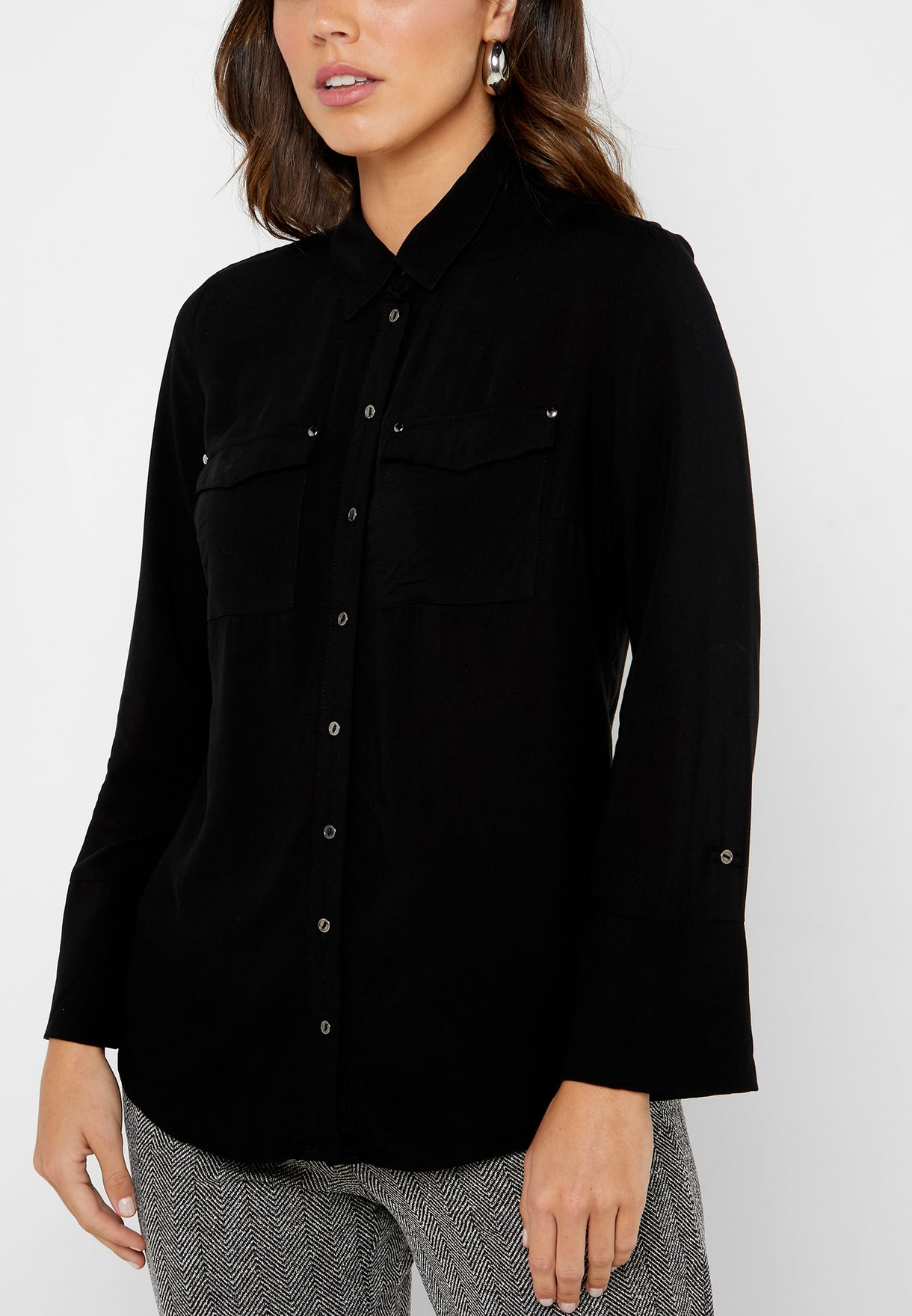 Pocket Detail Roll Sleeve Shirt
