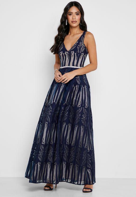 Contrast Waist Plunge Gown