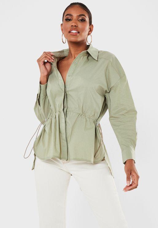Drawstring Detail Longline Shirt