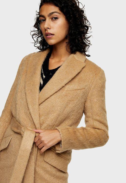 معطف طويل باربطة خصر