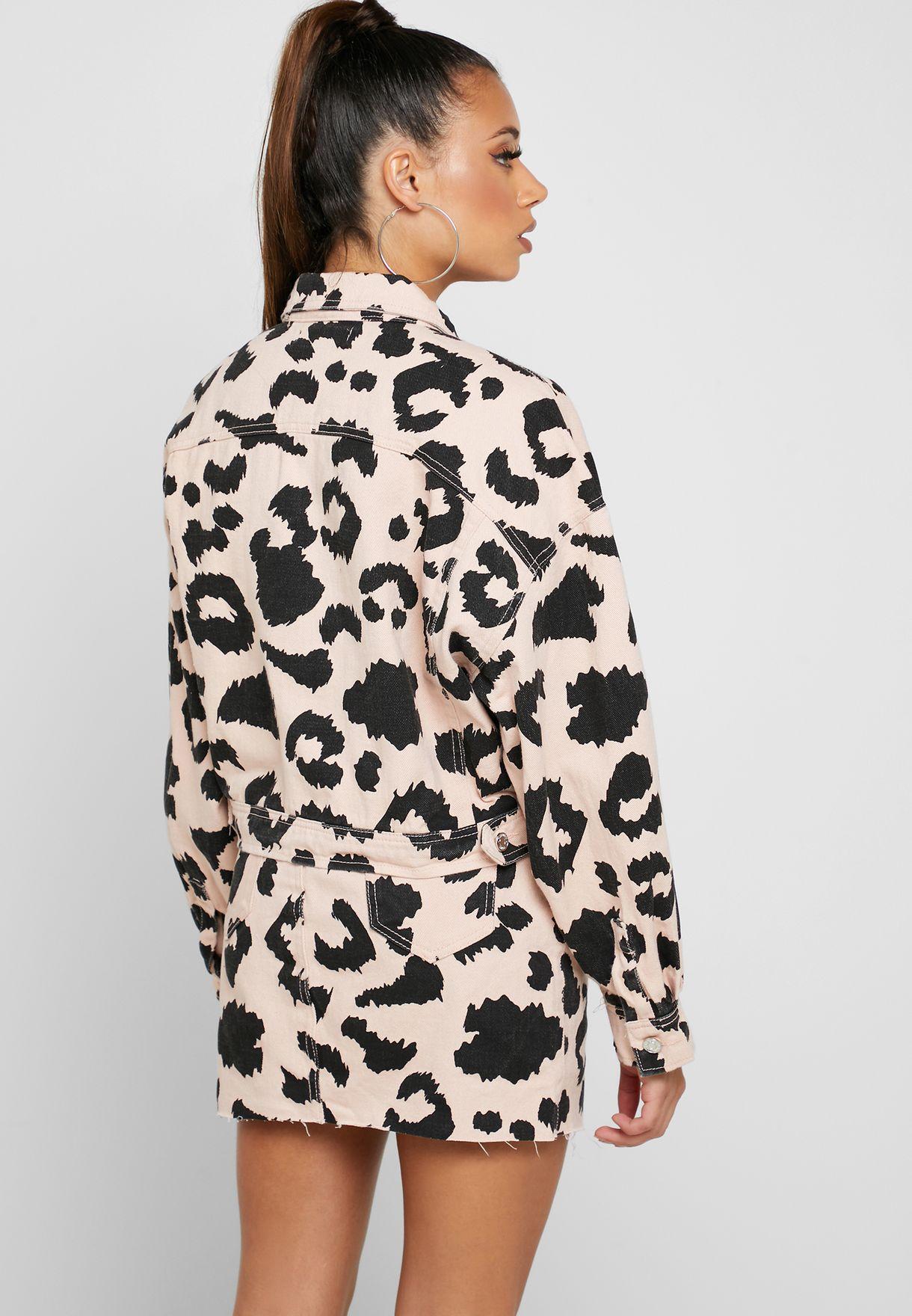 Leopard Print Cropped Denim Jacket